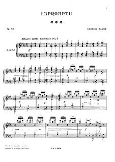 Impromptu for Harp No.6 in D Flat Major, Op.86: For a single performer by Gabriel Fauré