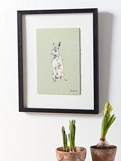 Framed Standing Hare Print
