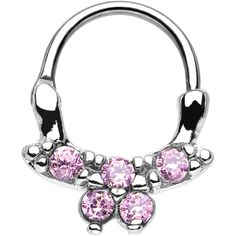 """16 Gauge 3/8"""" Pink CZ Bewitching Butterfly Septum Clicker 