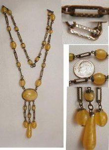 SIGNED SLAG glass Czech  tassled necklace