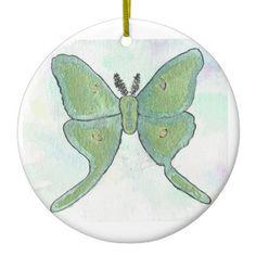 Luna Moth Circular Ornament from Original Watercolor Painting Christmas Holiday…