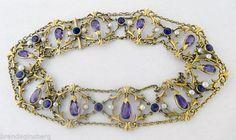Art-Nouveau-Dog-Collar-Choker-Necklace-Gold-Amethysts-Natural-Pearls-5430