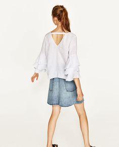 Image 4 of RUFFLED LINEN BLOUSE from Zara
