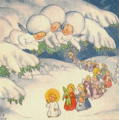 """Schnee Flockchen"" by Ida Bohatta-Morpurgo. Christmas Pictures, Christmas Angels, Christmas Art, Vintage Christmas, Retro Images, Fairytale Art, Children's Book Illustration, Kawaii, Vintage Cards"