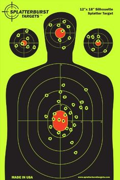 Splatterburst Targets - 12 x18 inch - Silhouette Reactive Shooting Target - Shots Burst Bright Fluorescent Yellow Upon Impact - Gun - Rifle - Pistol - AirSoft - BB Gun - Air Rifle - SPLATTERBURST TARGETS is a family owned and operated business making the HIGHEST QUALITY splatter targets available. Our targets are EXCELLENT for target practice, shooting competitions, self defense and concealed carry training. The BRIGHT yellow bullet holes are visible in all light conditions ...