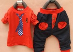 2pc Cotton printed tie suit- Red · Chic Kids Clothing · Online S