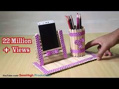 Homemade Pen stand and Mobile phone holder with ice cream sticks - YouTube