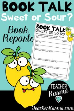Super fun Book Talk Forms to improve your students' comprehension, writing, and oral communication.  Sweet or Sour? Lemon themed Book Talk / Book Report forms are perfect for your students to share their favorite books with the class.  Teachers can also assess students' reading comprehension and oral communication skills.  #bookreport #booktalk #teacherkarma #readingcomprehension #bookreportforms #bookreports #opinionwriting