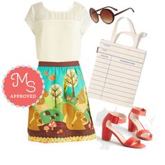 This outfit is channeling Miss Frizzell..... But I kind of love it! | What A Squirrel Wants Skirt by modcloth on Polyvore featuring polyvore fashion style Chelsea Crew Out of Print