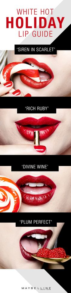 This holiday season, let's play up all the ravishing red lipsticks in our arsenal with Maybelline Color Sensational in 'Rich Ruby', 'Divine Wine', 'Plum Perfect' or 'Siren in Scarlet'. Whichever red you choose with this makeup guide, you're sure to turn up the heat this winter.