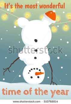 Winter postcard with funny snowman