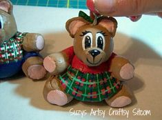Cute DIY Christmas Bear ornament made from bread dough.  Love that this project costs just pennies!