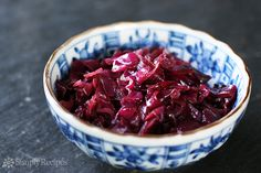 Sweet and Sour Red Cabbage ~ Traditional German and Austrian sweet sour red cabbage. Shredded red cabbage cooked with vinegar, sugar, and butter. ~ SimplyRecipes.com