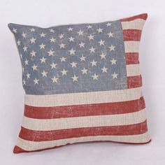 "Vintage Natural Linen Throw Pillow Cover, Available in British Union Jack and American Hero style and in size of 17""x17"""