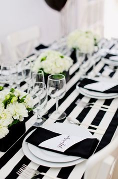 A black and white color scheme makes for an elegant New Year's Eve party.