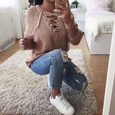 emily ☼ ☾'s collection! https://www.pinterest.com/embemholbrook/ Casual Fall Outfits, Fall Fashion Outfits, Fall Winter Outfits, Autumn Fashion 2018, Teen Fashion, Outfits For Teens, Spring Outfits, Wattpad, Jeans Style