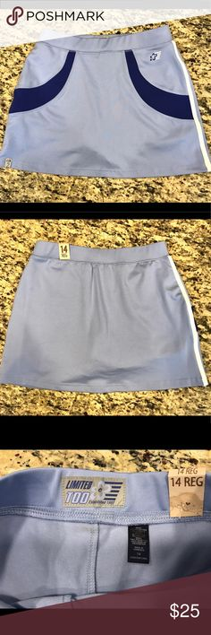 """NWT Limited Too girls skorts NWT Limited Too girls skorts.  Periwinkle blue with darker blue and white detail.  Built in shorts.  Poly/spandex/cotton.  Brand new - never worn.  13"""" long, 12.5"""" across waist The Limited Bottoms Skorts"""