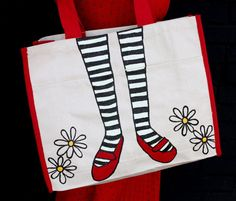 draw on picture to blank tote bag, paint with fabric paint iron to set and your good to go. Diy Tote Bag, Cute Tote Bags, Do It Yourself Fashion, Make It Yourself, Diy Sac, Make Your Own, How To Make, Beautiful Mess, Couture