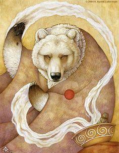 "Spirit Totem Animals: ""Healing Bear,"" by Kyoht Art Et Illustration, Illustrations, Native Art, Native American Art, Native Style, Tattoo Indio, Art D'ours, Bear Totem, Spirit Bear"