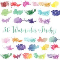 Set of 30 High Resolution Digital Watercolor Strokes Clipart/ Watercolor Clip Art/ PNG files/ Design Elements