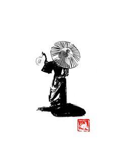 #japan #edo #geisha #umbrella #sumie Movie Characters, Fictional Characters, Geisha Japan, Sumi E Painting, Kimono Japan, France Drawing, Drawing People, Medium Art, Buy Art