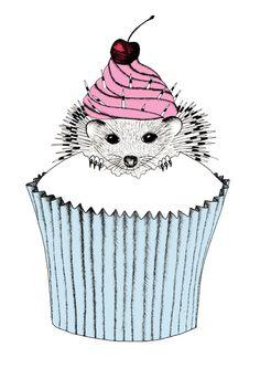 Hedgehog Cupcake Art Print