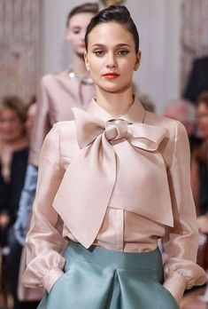 Naked Pink Elegant Shirt Collar Solid Work Blouse Top Material: PolyesterNeckline: Turn Down CollarSleeve: Long SleevePattern: PlainStyle: Work Fashion Details, Look Fashion, Womens Fashion, Fashion Tips, Fashion Design, Fashion Trends, Fashion Fashion, Couture Fashion, Hijab Fashion