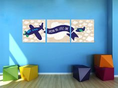 Cool Vintage Airplane Flying Wall Art set of 3  by EllieDesignsInc
