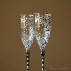 Lunettes de mariage verres de Champagne grillage par NevenaArtGlass