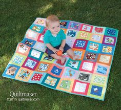 "This ""I Spy"" Quilt Kit includes charm squares and pre-cut strips for easy construction."