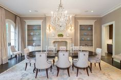 Formal Dining Room with French fireplace and herringbone firebrick