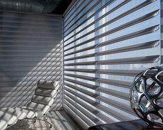 Stylish sophistication, modern functionality, a window treatment with a high design sensibility. Pirouette® Window Shadings ♦ Hunter Douglas Window Treatments   #loft #living room