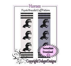 Horses  Beaded Peyote Bracelet Cuff Pattern by FUNPATTERNDESIGNS, $4.50