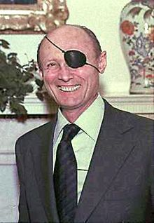 Moshe Dayan (Hebrew: משה דיין; 20 May 1915 – 16 October 1981) was an Israeli military leader and politician. The fourth Chief of Staff of the Israel Defense Forces (1953–58), he became a fighting symbol to the world of the new State of Israel.[1] He went on to become Defense Minister and later Foreign Minister of Israel.