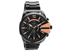 Diesel DZ4309 Mega Chief Chronograph Black Ion Plated Bracelet Watch - W11103 | F.Hinds Jewellers Oversized Watches, Diesel Watch, Casio Watch, Omega Watch, Chronograph, Bracelet Watch, Watches For Men, Plating, Jewels