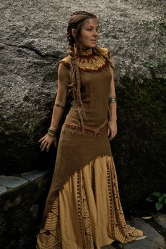 Tara Tribal No sleeve Dress Made of fine Raw Silk Natural Eco