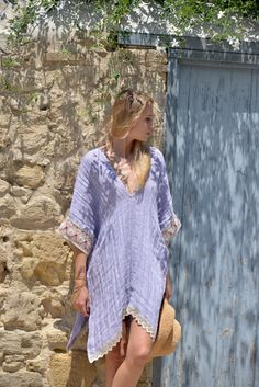 Violet ultra soft linen poncho. Wrinkled beach cover-up with cotton lace.