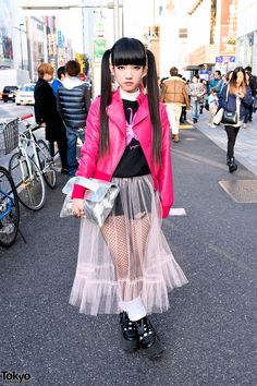 Pink Leather Jacket, Twin Tails, Sheer Skirt & Tokyo Bopper in Harajuku