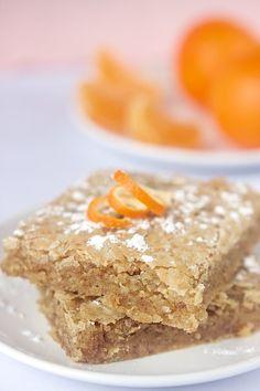 White Chocolate Orange Blondies ~ Vegan & Gluten Free. Recipe from http://www.manifestvegan.com/2011/01/white-chocolate-orange-blondies/#.