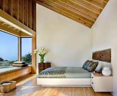 Like the idea of having a window in front of he bed! architecture, bedroom, casa, design, furniture, glass