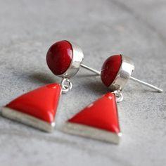 Red Coral earrings - Coral dangle earrings -geometric- coral Jewelry $95.00