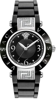 Loving this black and silver diamond-accented watch.