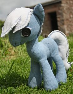 Pony Plush Cuddly Toy Made From Upcycled Denim Jeans by Ptarrah