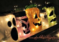 glowing halloween jars