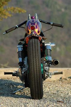 Photo of rear end of 1984 Harley Davidson Sportster Ironhead Bobber Motorcycle by Aldo.