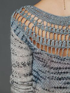 Crochet Back Jumper. Multicolour patterned jumper with crochet detailing at upper back.
