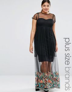 Imagen 1 de Vestido largo de malla con bordado en el bajo de Boohoo Plus