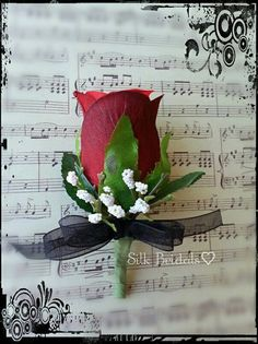 Red & Black Boutonniere rose Groom groomsman bridal by SilkBridals