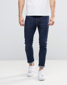 Buy Navy New look Skinny jeans for men at best price. Compare Jeans prices from online stores like Asos - Wossel Global Slim Jeans, Skinny Jeans, Man Jeans, Skinny Fit, Blue Jeans Outfit Men, Blue Jean Outfits, Burton Menswear, How To Look Skinnier, Men Casual