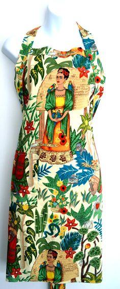 Mexico Import Arts - Frida Kahlo's Garden Apron White $38.50